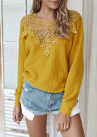 Lace Splicing Cut Out Long Sleeve Sweater