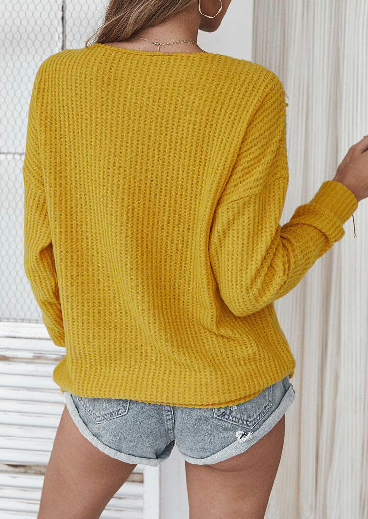 Lace Splicing Cut Out Long Sleeve Sweater - Yellow