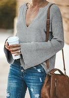 Knitted V-Neck Flare Sleeve Sweater