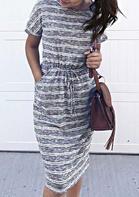 Striped Pocket O-Neck Drawstring Casual Dress