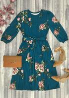 Floral Ruffled O-Neck Elastic Cuff Casual Dress