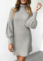 Ruffled Lantern Sleeve Turtleneck Mini Dress