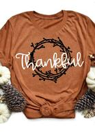 Thanksgiving Thankful Letter Graphic O-Neck T-Shirt