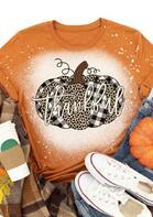 Thanksgiving Leopard Plaid Pumpkin Bleached Thankful T-Shirt
