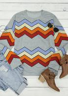 Colorful Zigzag Striped O-Neck Pullover Sweatshirt