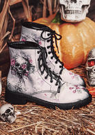 Halloween Skull Floral Lace Up Boots