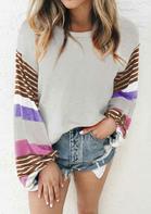 Colorful Striped Slit Elastic Cuff Blouse