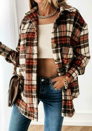 Plaid Splicing Button Pocket Turn-Down Collar Shirt