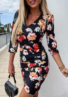 Floral V-Neck Zipper Asymmetric Bodycon Dress