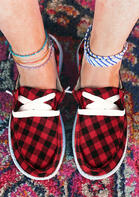 Buffalo Plaid Lace Up Round Toe Flat Sneakers