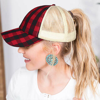Plaid Mesh Splicing Criss-Cross Hollow Out Baseball Cap