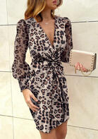 Leopard Twist Deep V-Neck Mini Dress