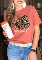 Thanksgiving Leopard Pumpkin Wild About Fall T-Shirt