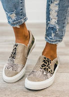 Leopard Snake Skin Camouflage Splicing Flat Canvas Sneakers