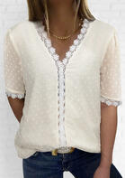 Lace Splicing V-Neck Blouse - Beige