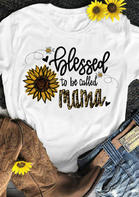 Thanksgiving Sunflower Leopard Blessed Mama T-Shirt