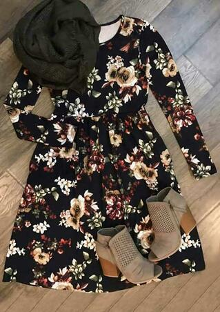 Floral Ruffled O-Neck Long Sleeve Casual Dress - Black