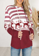 Christmas Reindeer Mandala Striped Splicing Drawstring Hoodie