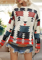 Aztec Geometric O-Neck Long Sleeve Blouse