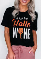 Halloween Pumpkin Face Happy Hallowine T-Shirt