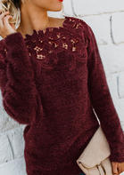 Lace Floral Splicing Sweater