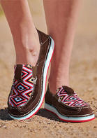 Aztec Geometric Slip On Flat Sneakers