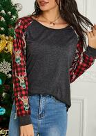 Christmas Reindeer Buffalo Plaid Splicing Blouse
