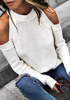 Cold Shoulder Long Sleeve Knitted Sweater
