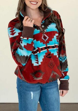 Aztec Geometric Rhombus Western Cowgirl Pullover Sweatshirt