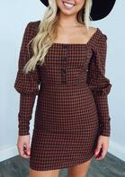 Plaid Button Square Collar Long Sleeve Mini Dress