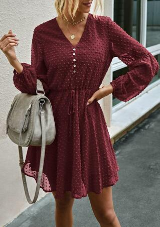 Ruffled Tie Button V-Neck Elastic Cuff Mini Dress - Burgundy