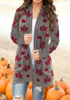Thanksgiving Maple Leaf Long Sleeve Casual Cardigan
