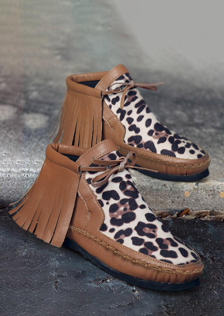 Leopard Tassel Western Round Toe Flat Boots