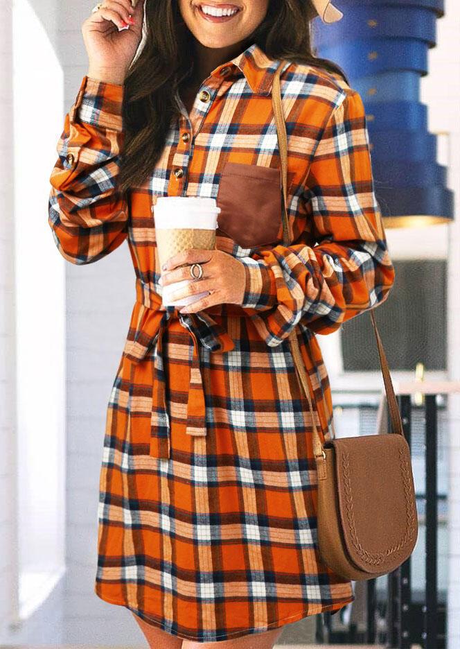 Plaid Pocket Button Long Sleeve Mini Shirt Dress - Orange