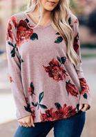 Floral Splicing V-Neck Long Sleeve Blouse