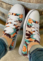 Geometric Lace Up Flat Canvas Sneakers