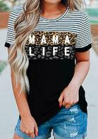Leopard Striped Splicing Mama Life O-Neck Blouse