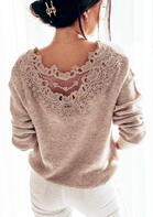 Lace Splicing Hollow Out Long Sleeve Sweater