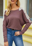 Lace Splicing Long Sleeve Sweater - Purple