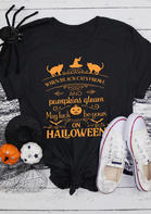 Halloween Black Cat Witch Hat Pumpkin Face T-Shirt