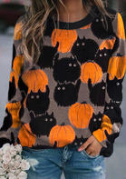 Halloween Black Cat Pumpkin Pullover