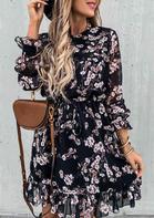 Floral Ruffled Drawstring Elastic Cuff Mini Dress