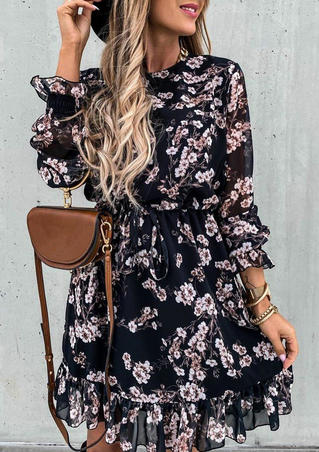 Floral Ruffled Drawstring Elastic Cuff Mini Dress - Black