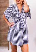Blue Gingham Tie Casual Mini Dress