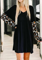 Leopard Splicing Ruffled Long Sleeve Mini Dress