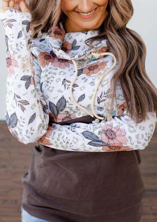 Floral Splicing Drawstring Cowl Neck Pullover Sweatshirt