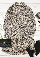 Leopard Ruffled Zipper Lantern Sleeve Mini Dress