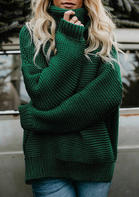 Long Sleeve Knitted Turtleneck Pullover Sweater