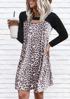 Leopard Splicing Cut Out Long Sleeve Mini Dress