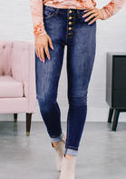 Pocket Button High Waist Denim Pants